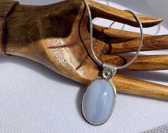 Blue Lace Agate Silver Pendant