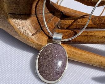 Lepidolite Silver Pendant