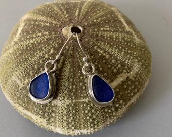 Genuine Cobalt Sea Glass Sterling Silver Earrings