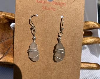 Pale Amethyst Sea Glass Silver Wire Wrapped Earrings