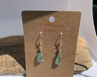 Pale Aqua Sea Glass Earrings
