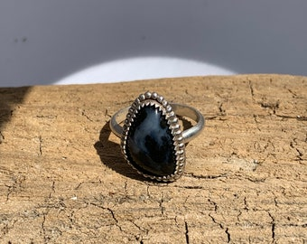 Dendritic Agate Silver Ring Size 5 1/2