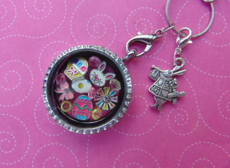 Double-Sided Dangle Mulit-Color 13 Piece Easter Floating Charm Set With Bunny Spotted Egg and Cute Bunny Charm Free Gift With Purchase.