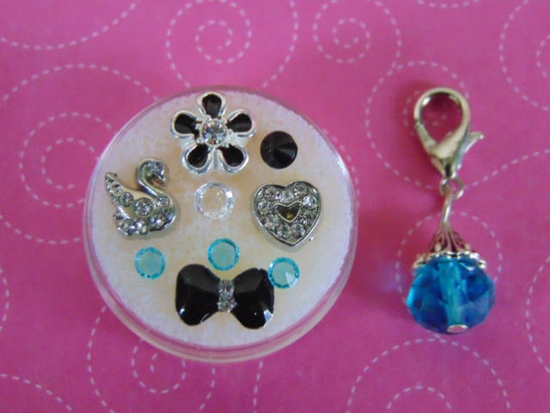 Elegant Swan Black and Blue 10 Piece Floating Charm Set wh Swan Free Gift wh Purchase Dangle Included Flower and Bow US Seller.