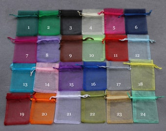 100 Organza Bags,Candy Drawstring Bags,Small Organza Bags Supplies,Wedding Favor Bags,Sheer Bags,Party Bags,Jewelry Bags,Mix color Gift Bags
