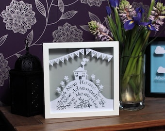 Personalised new home gift, framed papercut, new home papercut, personalised papercut