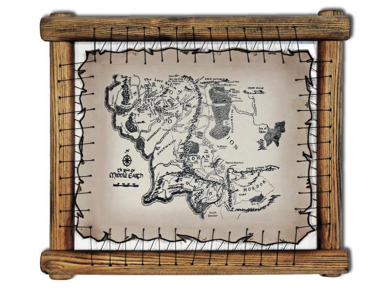 Middle Earth Map Leather Engraved Lord Of The Rings Print Lotr Etsy
