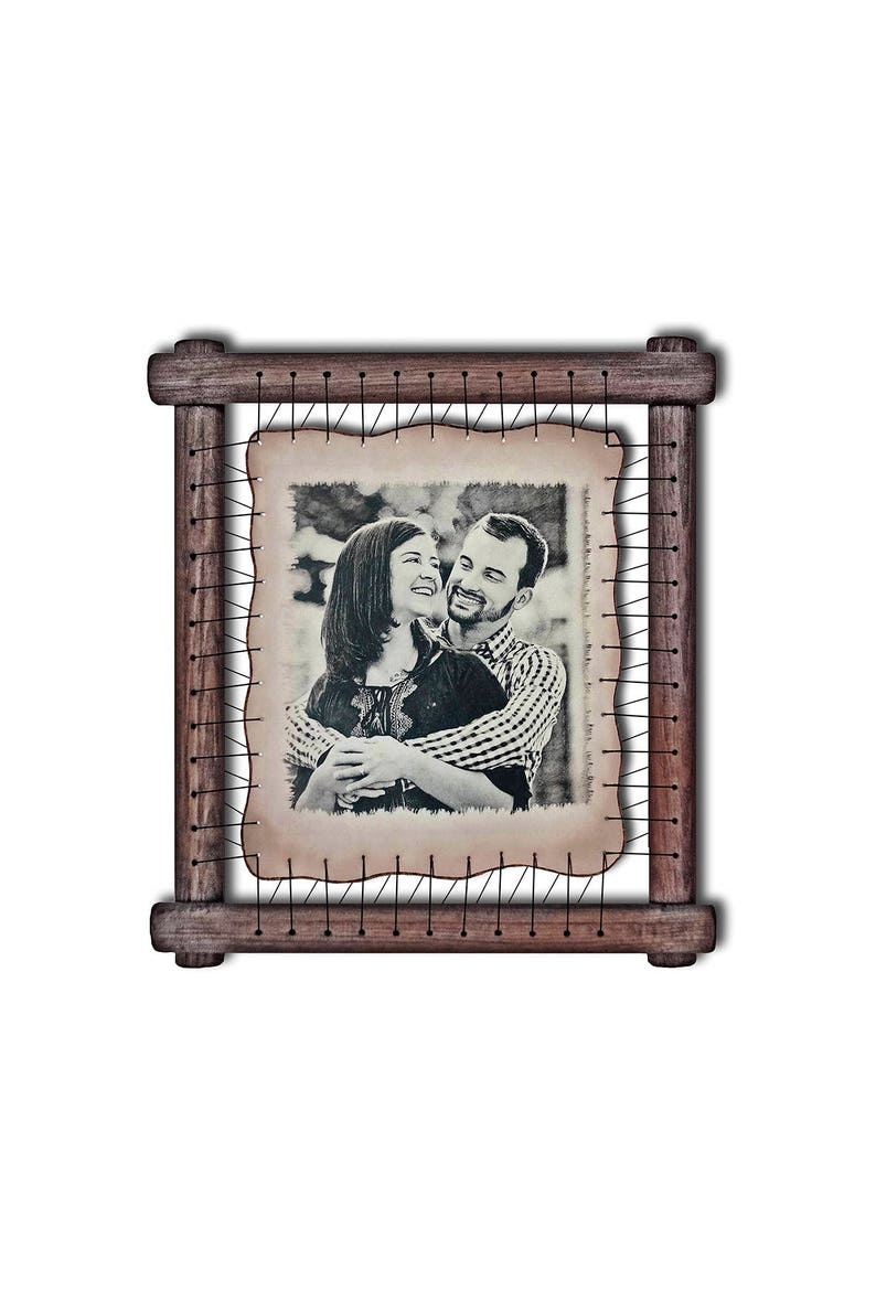 Tin anniversary gift Personalized Your custom photo hand engraved on leather