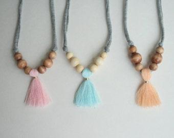 zpagetti tassel necklace  // sweet pink // baby blue // sweet peach