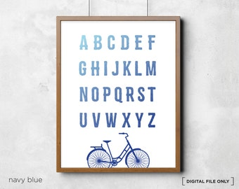 Bicycle Alphabet Chart - Printable alphabet chart - abc chart - alphabet poster - Childrens Room Wall Art - Digital Print - kids alphabet