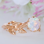Opal Engagement Ring Rose Gold, Opal Anniversary Ring, Fire Opal Engagement Ring, Ethiopian Opal Ring, Bohemian Engagement Ring, 14K / 18K