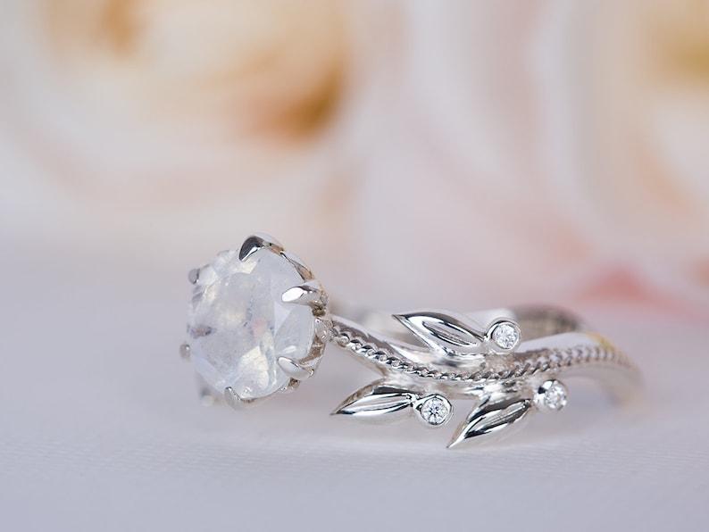 096806f62a0 Moonstone Wedding Ring, Leaves Engagement Ring, Moonstone Ring White Gold,  Moonstone Wedding Band, Moonstone Bridal Ring, Floral 14K / 18K