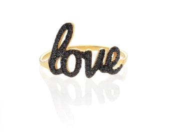 Black Anniversary Ring, Gold Love Ring, Love Anniversary Ring, 14k Gold Love Ring, Diamond Love Ring, Black Diamond Ring, Promise Love Ring