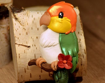 White Bellied Caique - polymer clay magnet - Premo Sculpey polymer figurine sculpture animal fantasy colorful fridge magnetic bird parrot