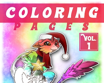 Christmas Coloring Pages - 9 designs - PDF - A4 Download Crayons Dragon Griffin Fox Pony Horse Children Book Digital PDF Printable Print