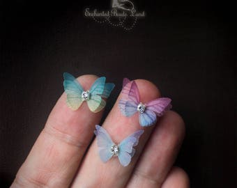 2cm Organza Fabric Butterflies Miniature with Rhinestone for Craft Jewelry Making Earrings Findings Nail Art