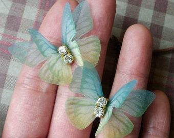 Organza Fabric Butterfly Ear Studs Crystal Rhinestone Butterflies Stud Earrings Blue Green Yellow Surgical Steel Earring Posts
