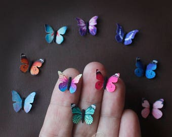Realistic Miniature 1.8cm Double Sided Tiny Miniature Fabric Butterflies Fabric Butterfly for Rings Earrings Craft Jewelry Making Findings