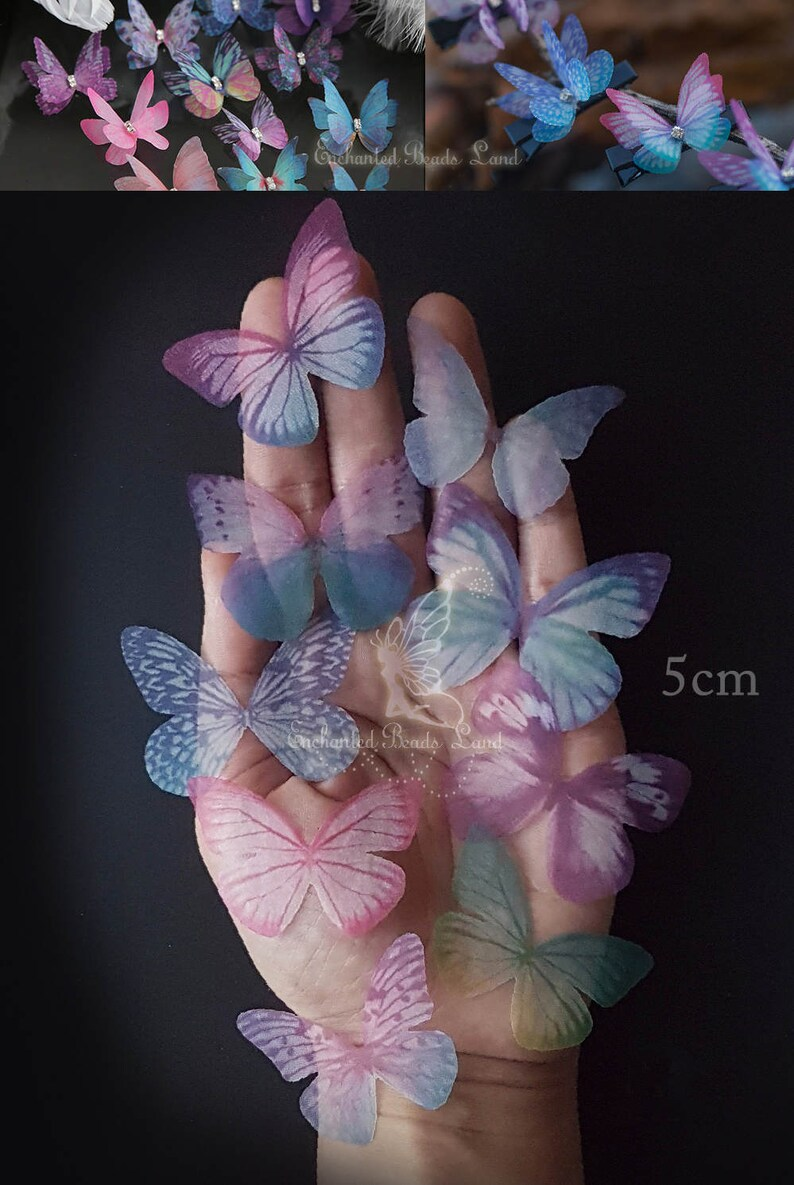 8pcs 5cm Double Sided Organza Fabric Butterfly Wings image 0