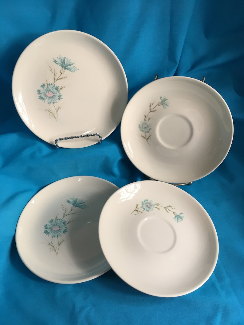 Taylor and Smith Boutonni\u00e8re Ever Yours Blue Cornflower Saucers FOUR Set of 4