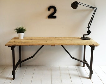 Vintage 1950s Trestle Desk / Folding Table - Solid Wood
