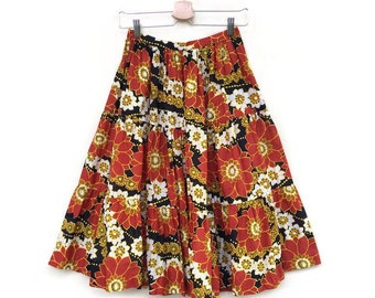 Vintage Floral skirt years 70 high waist
