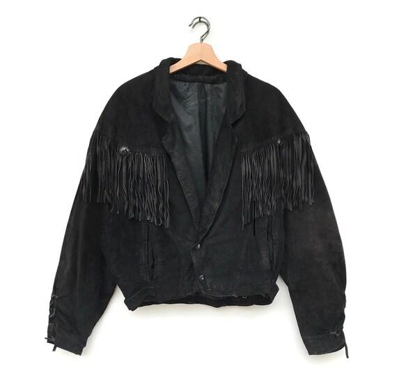 Vintage western fringed genuine leather jacket