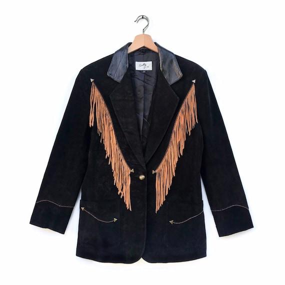 Vintage western genuine leather fringed jacket siz