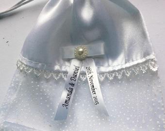 Sac de mariée pour la mariée de demoiselles d'honneur mariage sac à main personnalisé sac personnalisé ruban blanc Organza Satin