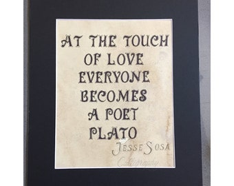 Love quote from Plato done in calligraphy print