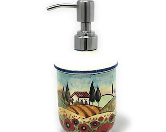 Italian Ceramic Soap Dispenser with Rust Proof Stainless for Bathroom ,Kitchen Hand Painted Pattern Tuscan Landscape Poppies Made in ITALY