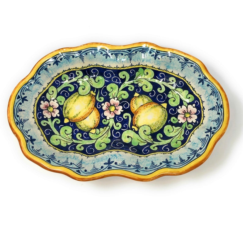 Italian Ceramic Plate Serving Tray Art Pottery Painted Florence Made in ITALY Tuscan