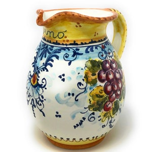 Italian Ceramic Art Pottery Jar Pitcher Vino Vine 0.4 Gal Hand Painted Decorated Sun Made in ITALY Tuscan