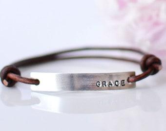 Grace Leather Bracelets for Women • Custom Word Bracelet • Word of The Year • Bar Bracelet • Inspirational Bracelet • Personalized