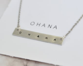 Ohana necklace, friendship necklace, ohana jewelry, womens necklace, gift for her, custom necklace, silver chain, family necklace
