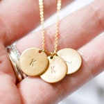 Initial necklace, personalized disk necklace, necklaces for women, letter necklace, dainty necklace, hand stamped gold necklace, custom
