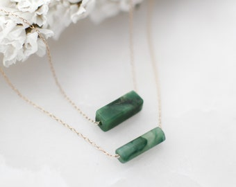 Jade Gemstone Bar Necklace • Green Jade Necklace • Good Luck Gift • Necklaces for Women • Dainty Gold Necklace • Gold Filled, Sterling