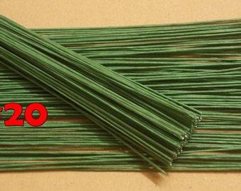 Floral Wire Flower Stem Artificial Floral Stem Length 12 X 1 mm Artificial Stems Gauge#22-- Wire Stems,100 PCS Green Wire Stems.