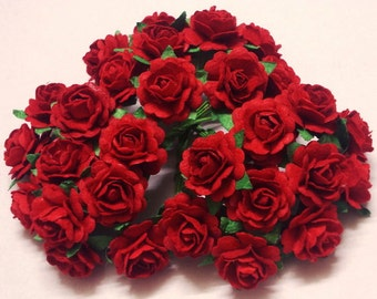 Paper roses etsy 30 paper flowers size 075 mulberry paper craft flower mini roses wedding paper flower craft wedding red paper roses mightylinksfo
