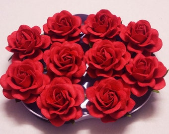 Favors Hat Wedding Invitations Tutu Millinery Paper Crafting 20 Red Paper Roses for Scrapbooking Wreath Artificial Flowers Party