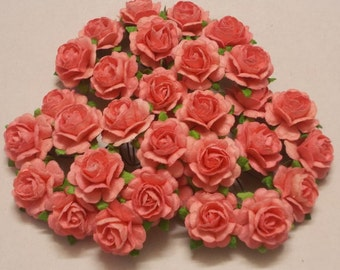 Coral paper flowers etsy 30 paper flowers size 075 mulberry paper craft flower mini roses wedding events paper flower craft wedding soft coral paper roses mightylinksfo