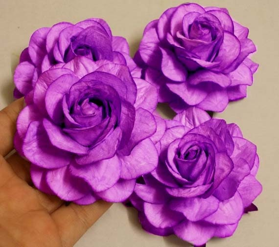 4 Paper Flowers Size 3 Mulberry Paper Craft Flower Paper Flower Craft Wedding Wedding Bouquets And Crafts Purple Paper Roses