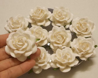 "10 Paper Flowers (Size 2"") Mulberry Paper Craft flower, Paper flower craft wedding, Wedding, Bouquets, White Paper Roses."