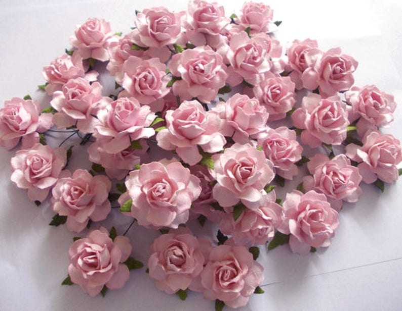 25 Paper Flowers Size 1 5 Mulberry Paper Craft Flower Paper Flower Craft Wedding Wedding Bouquets Light Pink Paper Roses