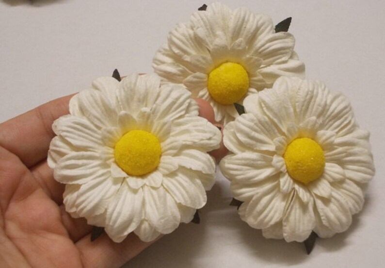6 Paper Flowers Size 2 5 Mulberry Paper Craft Flower Wedding Mulberry Paper Daisies Bouquets White Paper Sunflower Or Paper Daisy