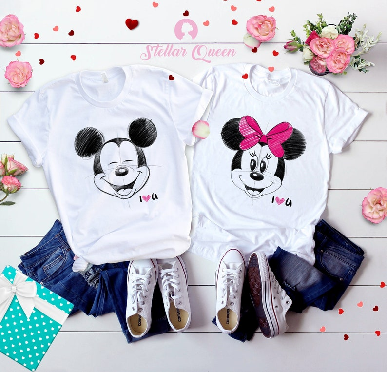 870851da0d84 Mickey and Minnie Valentine Disney couple matching shirts