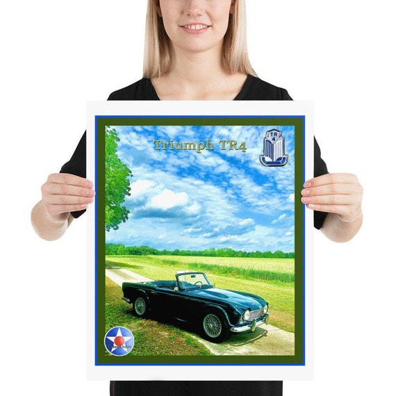 """Poster / Print,  Triumph TR4 in a field of it's own. 18"""" x 24"""""""