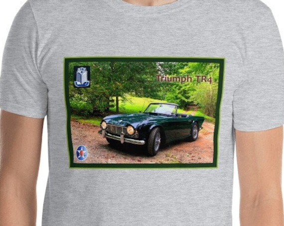 Short-Sleeve Unisex T-Shirt, Triumph TR4 on a Country Road.