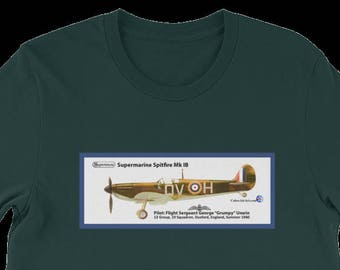 T-Shirt, WWII Fighter Ace George Unwin's Spitfire airplane