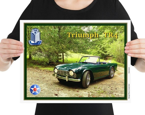 """Poster / Print,  Triumph TR4 on a Country Road. 12"""" x 16"""" -or- 18"""" x 24"""""""